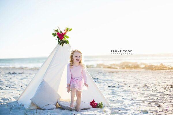 kids beach photoshoot white teepee play tent