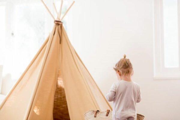 baby nursery neutral teepee play tent