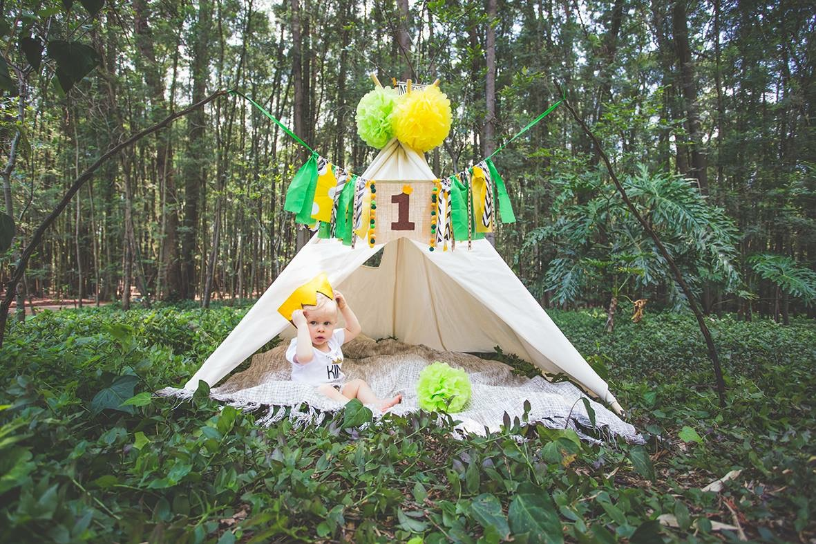 1st birthday forest photoshoot teepee play tent