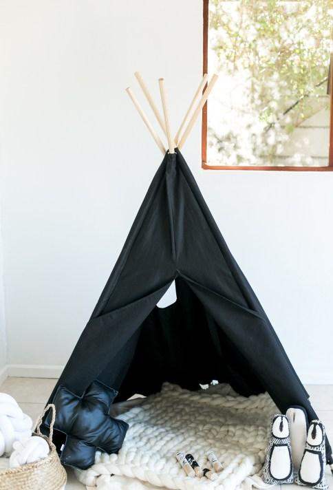 kids room black teepee play tent