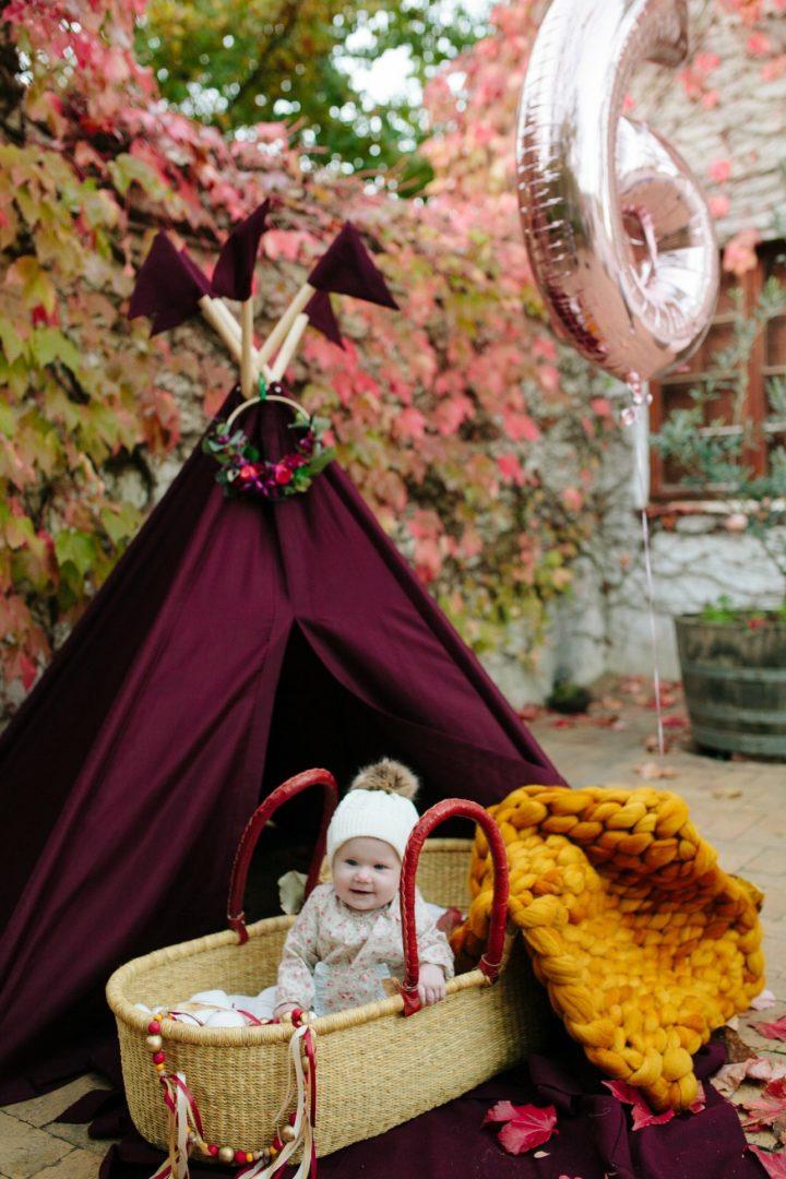 plum purple kids teepee play tent floral wreath
