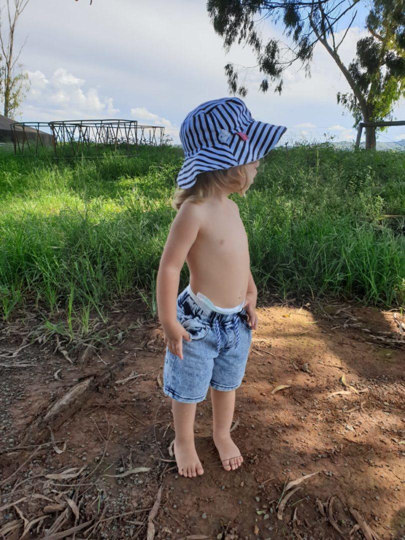 kids unisex blue white stripe sun hat