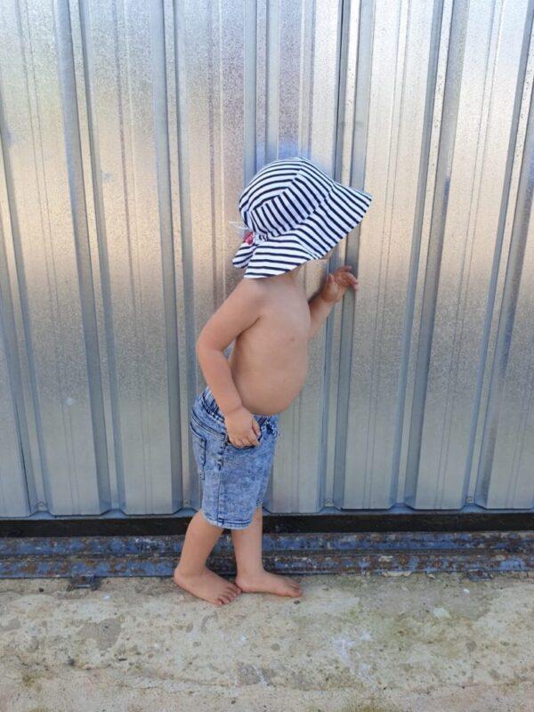 Kids unisex striped sunhat