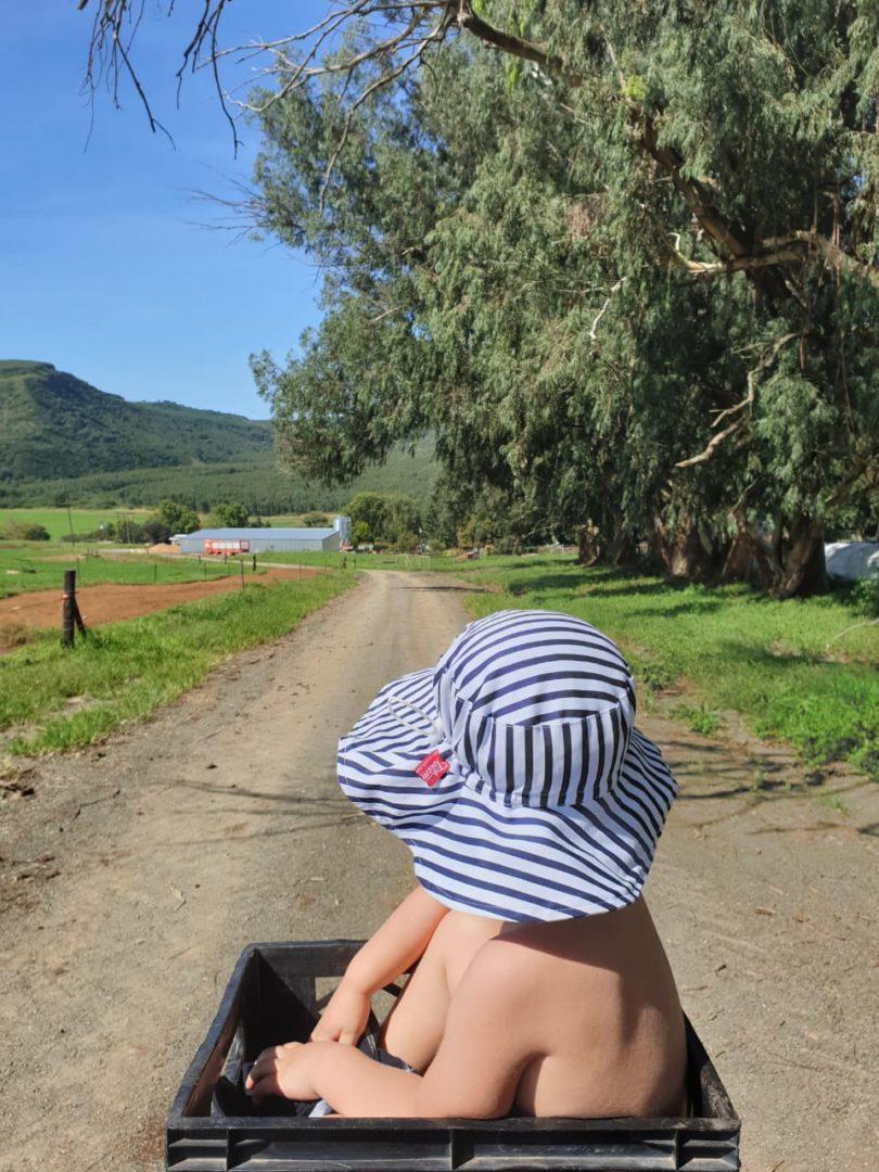 children unisex blue white stripe sun hat