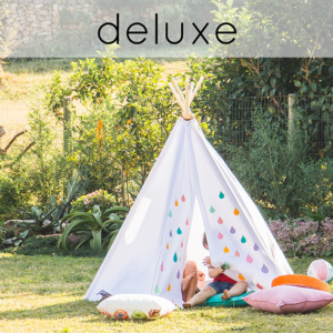 Kids teepee play tent colourful raindrop pattern